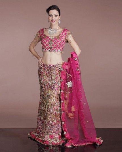 pink lehenga designs for skinny girls